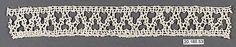 Date:      16th century  Culture:      Italian (Venice)  Medium:      Bobbin lace  Dimensions:      L. 10 x W. 1 1/4 inches (25.4 x 3.2 cm)