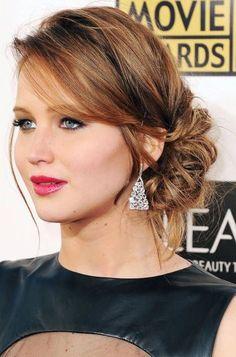 Jennifer Lawrence Low Chignon Updo