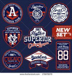 Vintage T-shirt labels creative vector material 03 T Shirt Label, Vintage Labels, Polo T Shirts, Sports Logo, Logo Design Inspiration, Logo Branding, Hiphop, Shirt Designs, Lettering