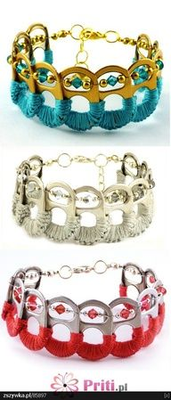 Bracelets made from crochet embellished soda can tops