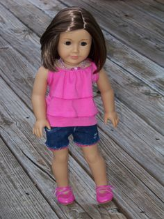 Doll outfit - pink top with denim shorts