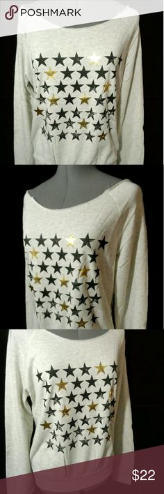 "STYLE TREE STARS Sweatshirt Oatmeal S M New Individual monitors may display slightly different colors or hues...   NEW WITH TAGS-  LOVE TREE Stars Sweatshirt  TAG SIZE: S, M, or L BUST:? S-34"" M-38"" L-42""? LENGTH: all are about 22-23"" from the nape of the neck down METALLIC STARS ACCENTS! Scoop neck Raw neckline Heathered stretch knit fabric WIDE NECKLINE can be worn OFF-SHOULDER! Light sweatshirt type knitOatmeal & Gray in colorBlack and Gold Stars pattern NEW NEW NEW!? Check out my?other…"