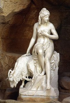 Amalthea and Jupiter's Goat - statue by Pierre Julien, 1787 - at the Louvre Museum