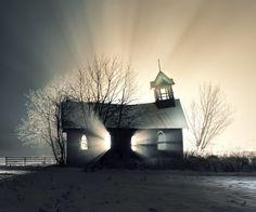 abandoned house at sunrise