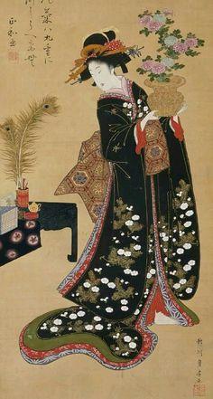 Courtesan listening to a cuckoo. Main detail of hanging scroll; ink and colour on silk, , Japan, by artist Utagawa Toyohiro. Japanese Drawings, Japanese Prints, Japanese Kimono, Japanese Geisha, Ancient Japanese Art, Traditional Japanese Art, Art Occidental, Art Chinois, Geisha Art