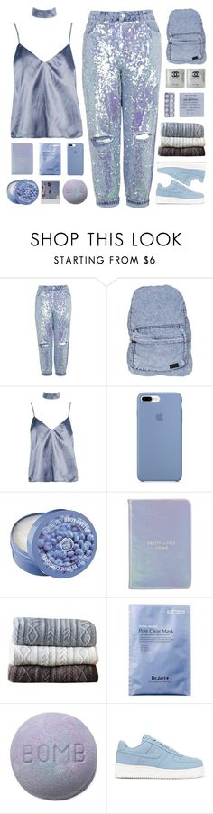 """""""just own the night"""" by via-m ❤ liked on Polyvore featuring Topshop, Stussy, Boohoo, The Body Shop, Kate Spade, Johanna Howard and NIKE"""