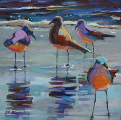 SILLY SEAGULLS IN THE SURF by Elizabeth Blaylock