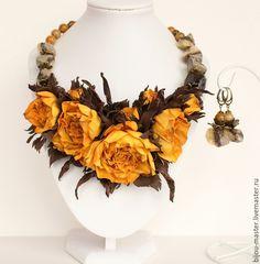 Купить Комплект ГОРЧИЧНО-ШОКОЛАДНЫЙ - коричневый, горчичный, желтый, желтые роза, увядшие розы, бохо