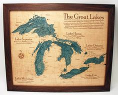 Great Lakes Wall Chart by KustomKraftLaser on Etsy