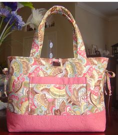Quilted Bow Tucks Tote Purse,(loaded with pockets) by Noni529 on Etsy, $35.00