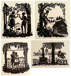 Vintage German Scherenschnitte or Silhouettes. Intricate Hand Cut Designs.  Scenes With People. Each Sold Separately.