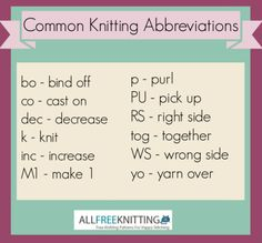 Click the photo to find a complete list of common knitting abbreviations from AllFreeKnitting.com.