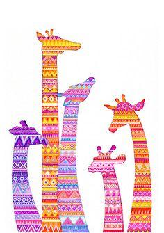Giraffe Silhouettes in Colorful Tribal Print byAnnya Kai