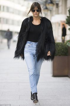 Alessandra Ambrosio looks effortlessly chic in fluffy coat in Paris #dailymail