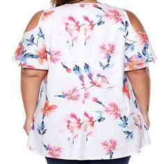034dc7ade8dec BODOAO Womens Plus Size Floral T Shirt Tops Print Cold Shoulder Short  Sleeve Blouse   Want additional info  Click on the image.