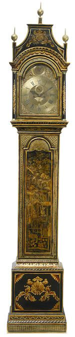 A George III lacquered tall case clock Edward Upjohn, Exon fourth quarter 18th century Chinoiserie decorated with figures in formal landscapes, the hood with pagoda top, the trunk enclosed by a long panel door, on plinth base, the arched brass dial with silvered chapter ring, having Roman hours and Arabic minutes with subsidiary seconds dial and date aperture to the engraved center, with nameplate to the arch inscribed Edward Upjohn EXON within cast spandrels, the twin train movement…