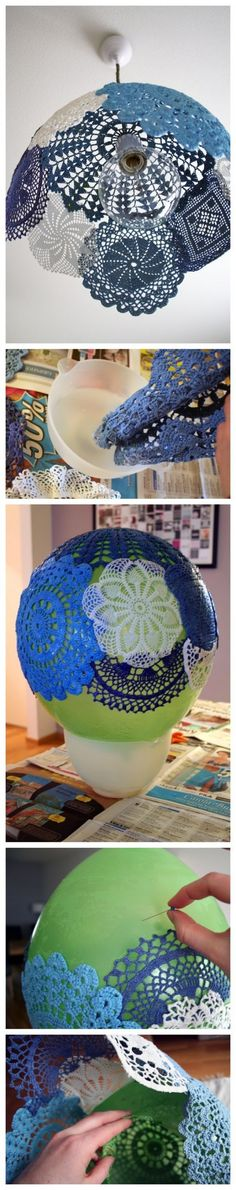 CUTE  colourful doily lamp shade. I love the doily lamp tutorial but with these blues, I am totally inspired.