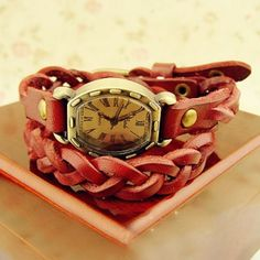 2012 New Style Woven Leather Band Vintage Bracelet Watch for Women