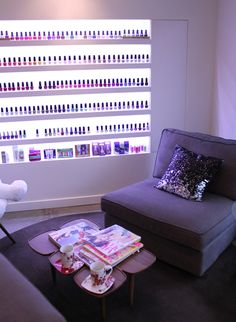 sparkley cushion - backlit nail display...like the back lit nail displays and as product shelving too