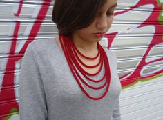 Statement necklace red strand necklace crochet by PopisBOUTIQUE
