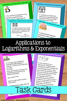 Logarithmic and Exponential Equations Applications Task Cards plus Worksheet Logarithmic Functions, College Math, High School Curriculum, Precalculus, Secondary Teacher, Math Teacher, Word Problems, Math Resources, Algebra