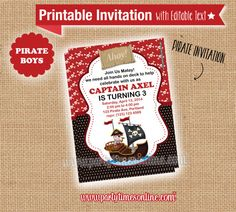 Pirate Invitation Party Pirate Ship Birthday Printable -INSTANT DOWNLOAD- EDITABLE text you personalize with Adobe Reader Boys Parties
