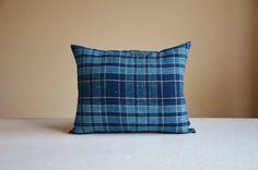 Blue cushion boro pillow Japanese checked by EthicalLifeStore
