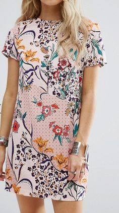 Glamorous Petite Scarf Print Tee Shift Dress