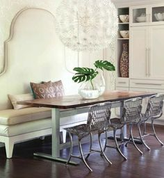 banquette & metal chairs + over scale bloom pendant | via Modern & Classic Kitchens ~ Cityhaüs Design