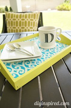 Trash to Treasure DIY Fabric Lined Serving Tray How To -from an old free garage sale bound tray.