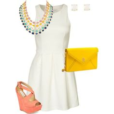 Summer Luncheon by jillllllllllian on Polyvore - with Kate Spade necklace, Tory Burch clutch and Steve Madden wedges