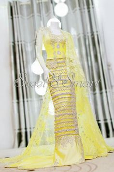 "Indeed pretty yellow wedding dress from ""sweet and smart clothing"" Yellow Wedding Dress, Dress Wedding, Myanmar Dress Design, Myanmar Traditional Dress, Smart Outfit, Traditional Wedding Dresses, Indian Designer Wear, African Fashion, Women's Fashion"