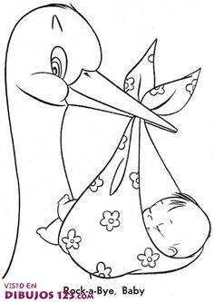 Dibujos de la cigueña y el bebé - Imagui