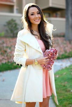 white/cream princess coat, light pink dress combo