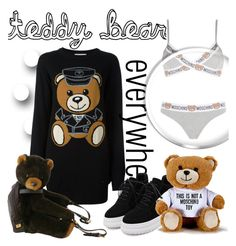 """teddy bear everywhere"" by janesmiley ❤ liked on Polyvore featuring Moschino and WithChic"