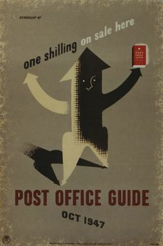 By Tom Eckersley, Oct 1947, one shilling on sale here, Post Office Guide, UK.