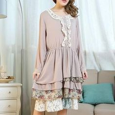 Buy 'Blue Hat – Long-Sleeve Lace-Trim Layered Dress' with Free International Shipping at YesStyle.com. Browse and shop for thousands of Asian fashion items from China and more!