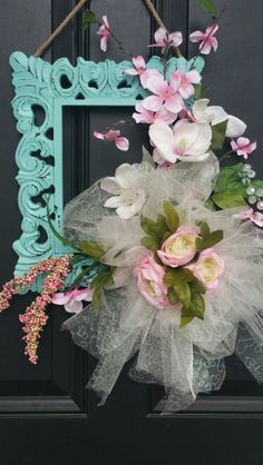 A Spring Wreath I made up for my front door .