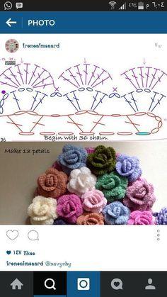 Watch The Video Splendid Crochet a Puff Flower Ideas. Phenomenal Crochet a Puff Flower Ideas. Crochet Flower Tutorial, Crochet Flower Patterns, Crochet Flowers, Knitting Patterns, Crochet Chart, Crochet Motif, Irish Crochet, Gilet Crochet, Crochet Bows