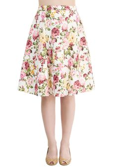 Beg Your Garden Skirt. Excuse your blooming beauty in this charming white skirt! #multi #modcloth
