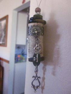 Vintage styled wine cork ornament with key