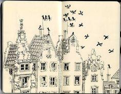 house, ill., illustration, ink, moleskine - inspiring picture on Favim.com