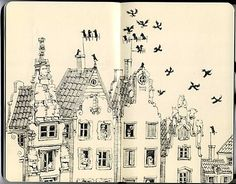 house, ill., illustration, ink, moleskine - inspiring picture on Favim.com