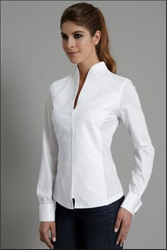 Tops with blouse collar Shirts for sewing class - Womens shirts with collars Stand Collar Shirt, Collar Shirts, Shirt Blouses, Collars, High Collar Blouse, White Shirts Women, White Women, Blouses For Women, Ladies White