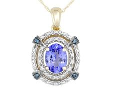 True blue. Wear with a navy blue dress or top! All the shades of blue will be complemented and just stunning! | 1.08ct Oval Tanzanite With .08ctw White And .04ctw Blue Diamond Accents 10k Gold Pendant With Chain