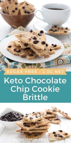 Thin and crispy keto chocolate chip cookie brittle. A delicious low carb snack for back to school!