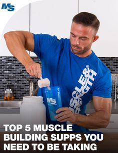 Top 5 Muscle Building Supplements You Need to Be Taking Gym Supplements, Muscle Building Supplements, Bodybuilding Supplements, Nutritional Supplements, Fitness Tips, Fitness Motivation, Health Fitness, Muscle Diet, Build Muscle Fast