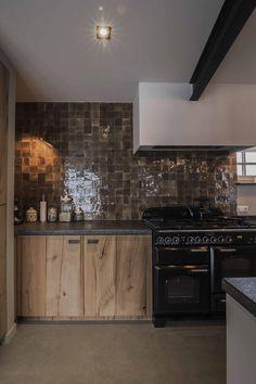 barnwood kitchen, zelliges tilework, concrete floor, falcon cooker. Concrete Floors, Barn Wood, Cooker, Living Spaces, Kitchen Cabinets, Flooring, Interior Design, Inspiration, Inspired