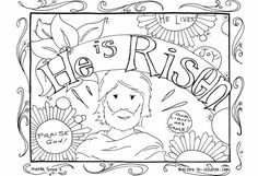 He is Risen!-Christian Coloring Pages for Kids, Compliments of Warren Camp Design