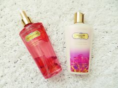 VS's body mist and body lotion